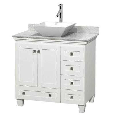Wyndham Collection Acclaim 36 in. W Vanity in White with Marble Vanity Top in Carrara White and White Sink