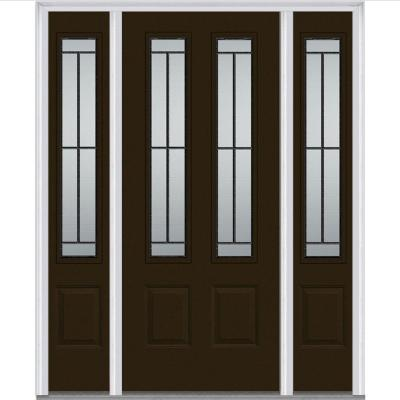 60 in. x 80 in. Madison Decorative Glass 2 Lite Painted Fiberglass Smooth Prehung Front Door with Sidelites Product Photo