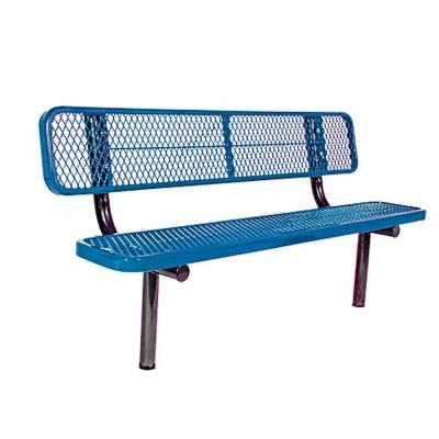Surface Mount 8 ft. Blue Diamond Commercial Park Bench with Back