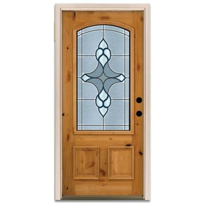Steves & Sons Trenton 3/4-Arch Lite Prefinished Knotty Alder Wood Prehung Front Door-DISCONTINUED