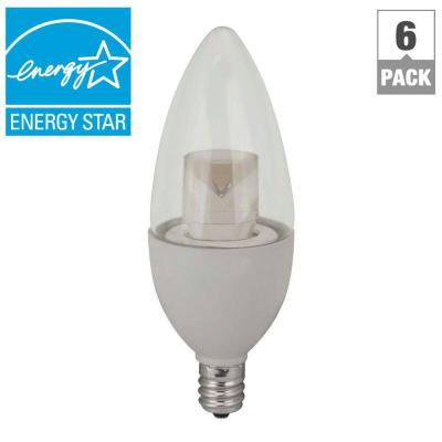 TCP 25W Equivalent Daylight B10 Blunt Tip Candelabra Deco Dimmable LED Light Bulb (6-Pack)