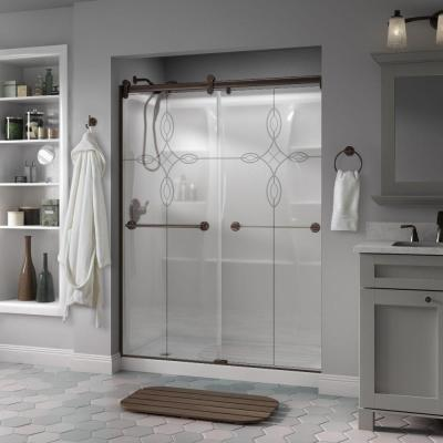 Simplicity 60 in. x 71 in. Semi-Frameless Contemporary Style Sliding Shower Door in Bronze with Rain Glass Product Photo