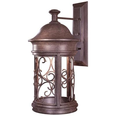 the great outdoors by Minka Lavery Wall-Mount 1-Light Outdoor Vintage Rust Lantern