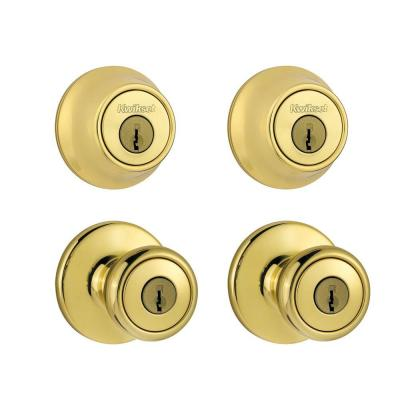 Kwikset Tylo Polished Brass Exterior Entry Knob and Single Cylinder Deadbolt Project Pack