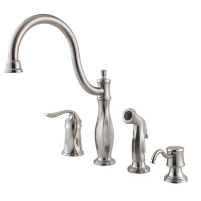 Cadenza Single-Handle Standard Kitchen Faucet with Side Sprayer and Soap
