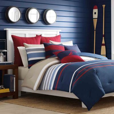 Bradford Navy Striped Cotton Comforter Set