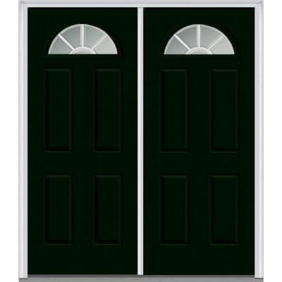 64 in. x 80 in. Classic Clear Glass GBG 1/4 Lite Painted Fiberglass Smooth Double Prehung Front Door Product Photo