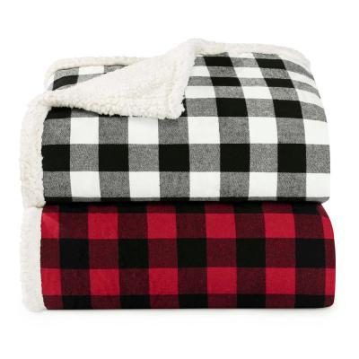 Cabin Plaid Sherpa Reverse Throw Blanket