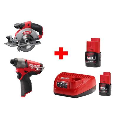 Milwaukee M12 12-Volt Lithium-Ion Cordless 5-3/8 in. Cordless Circular Saw and 1/4 in. Fuel Impact Driver Combo Kit (2-Tool)