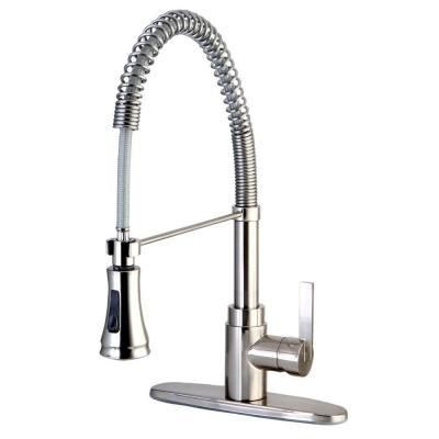 Kingston Brass Single-Handle Pull-Down Sprayer Kitchen Faucet in Satin Nickel