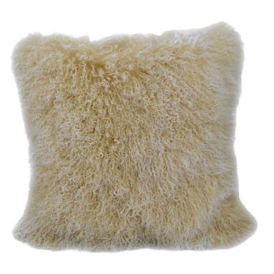 Dahlia Tibetan Lamb 24 in. x 24 in. Throw Pillow