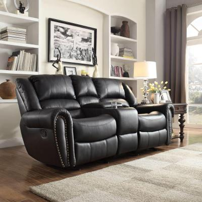 Merida Nailhead Accent Bonded Leather Double Reclining Loveseat in Black with