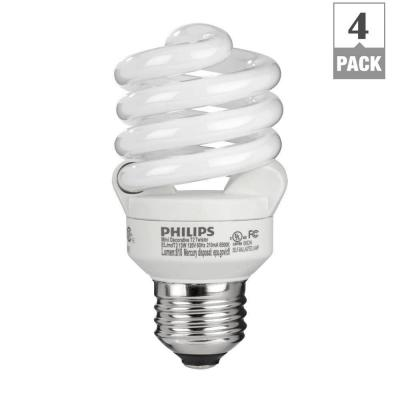 Philips 60W Equivalent Daylight (6500K) T2 Spiral CFL Light Bulb (E*) (4-Pack)