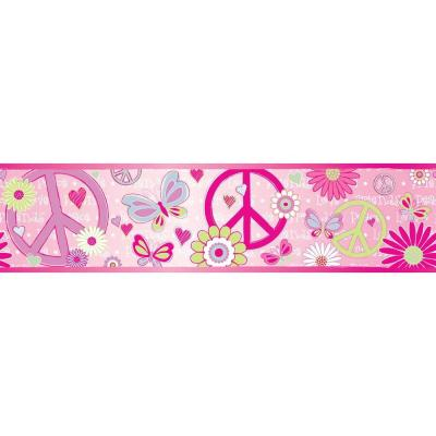 null 6.8 in. W x 10 in. H Love Child Border Pink Peace and Love Border Sample