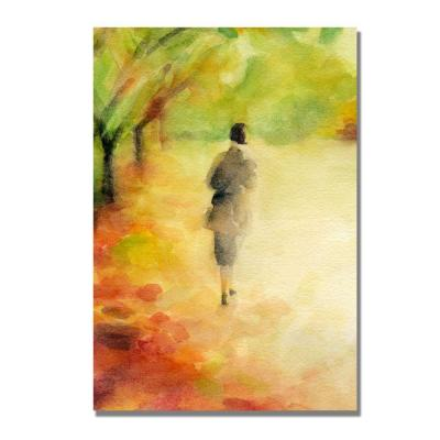 null 16 in. x 24 in. Woman Walking in Autumn Leaves Canvas Art-DISCONTINUED