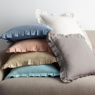 Linen Cotton Solid Ruffled Throw Pillow Cover