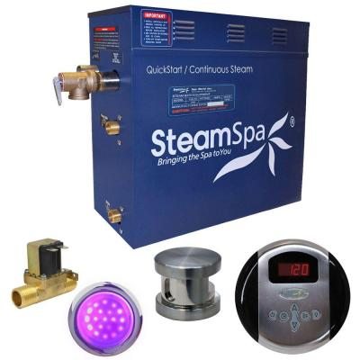 SteamSpa Indulgence 4.5kW QuickStart Steam Bath Generator Package with Built-In Auto Drain in Brushed Nickel