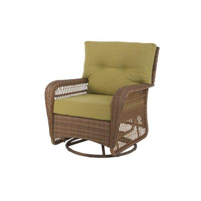 Martha Stewart Living Charlottetown Brown All-Weather Wicker Patio Swivel Rocker Lounge Chair with Green Bean Cushion