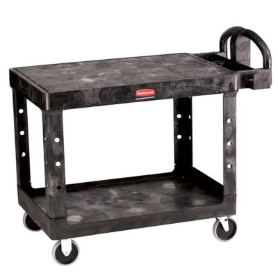 Rubbermaid Commercial Products 2-Shelf Medium Heavy Duty Utility Cart with Flat Shelf FG 4525 BLA