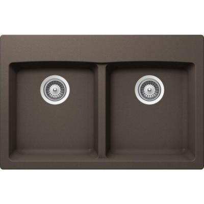 INSPIRE Top Mount Composite 31 in. 0-Hole 50/50 Double Bowl Kitchen