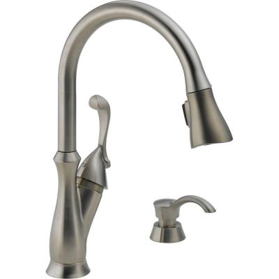 Delta Arabella Single Handle Pull Down Sprayer Kitchen Faucet In Stainless With Soap Dispenser
