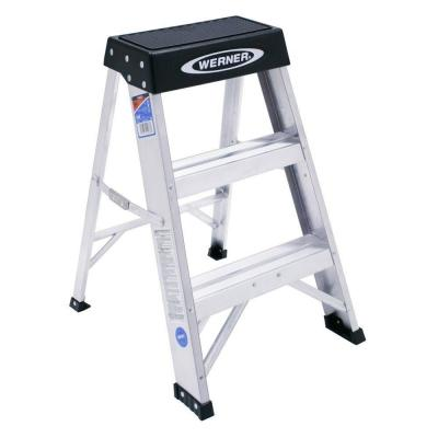 Werner 2 Ft Aluminum Step Ladder With 300 Lb Load