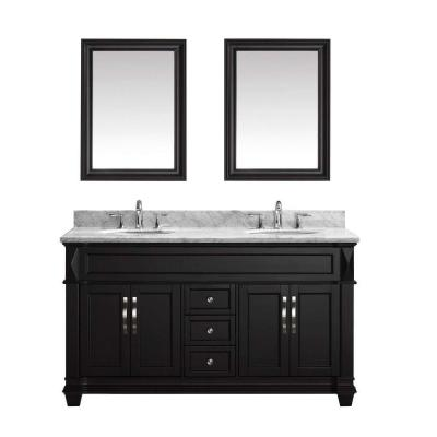 Virtu USA Victoria 60 in. W x 36 in. H Vanity with Marble Vanity Top in Carrara White with White Round Basin and Mirror