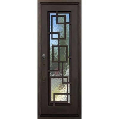 40 in. x 82 in. St Andrews Dark Bronze Left-Hand Inswing Painted Iron Prehung Front Door with Privacy Glass and Hardware Product Photo