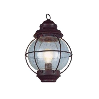 Bel Air Lighting Lighthouse 1-Light Outdoor Hanging Rustic Bronze Lantern with Seeded Glass