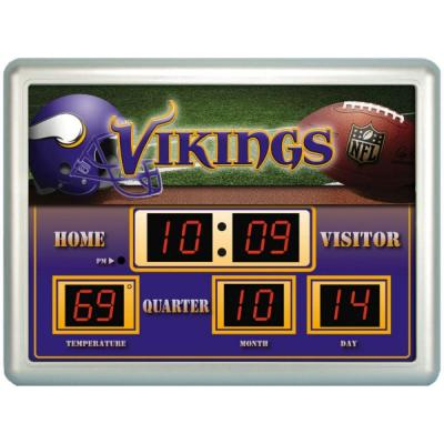 null Minnesota Vikings 14 in. x 19 in. Scoreboard Clock with Temperature