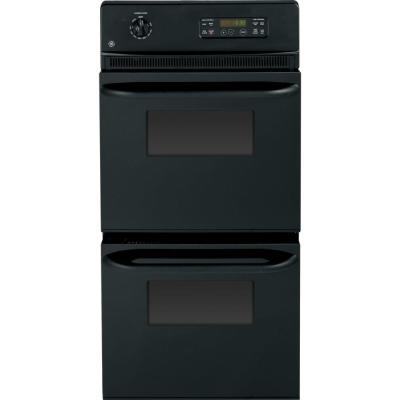GE 24 in. Double Electric Wall Oven Self-Cleaning in Black