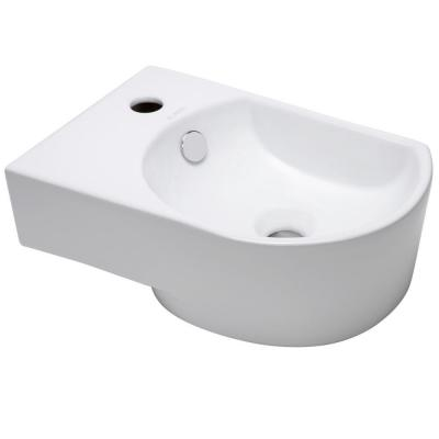 Elanti Wall Mounted Rounded Modern Compact Bathroom Sink