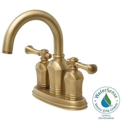 null Verdanza 4 in. 2-Handle Bathroom Faucet in Antique Brass
