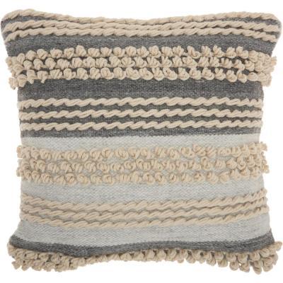 LifeStyles Ocean Bohemian Textured Stripes Throw Pillow