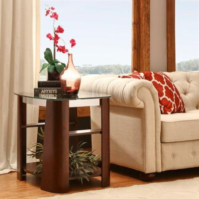 HomeSullivan Harrison Warm Brown Glass Top End Table