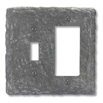 Amerelle Faux Slate 1 Toggle 1 Decora Wall Plate - Grey