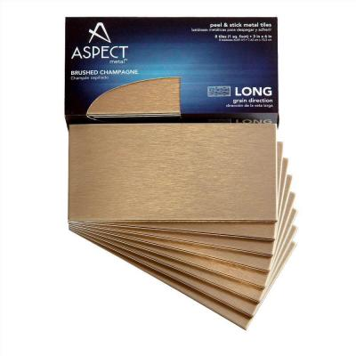 Aspect Long Grain 3 in. x 6 in. Metal Decorative Wall Tile in Brushed Champagne (8-Pack)
