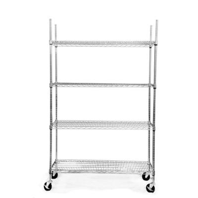 Trinity EcoStorage 4-Tier 48 in. x 18 in. x 77 in. Shelving Rack with Wheels in Chrome