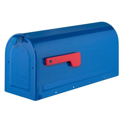 MB1 Post Mount Mailbox Blue with Red Flag