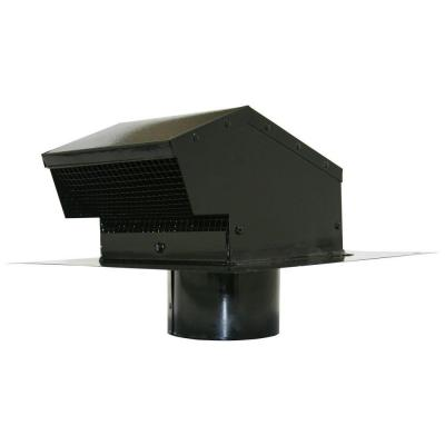 Speedi-Products 4 in. Galvanized Flush Roof Cap in Black with Removable Screen, Backdraft Damper and 4 in. Collar