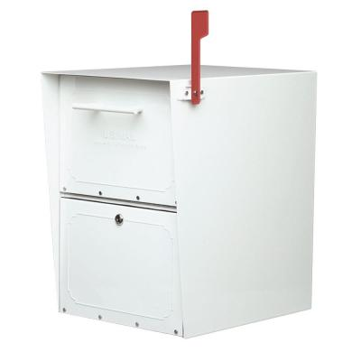 Oasis Post-Mount or Column-Mount Locking Mailbox in White with Outgoing Mail