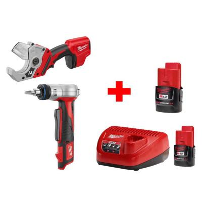 Milwaukee M12 12-Volt Lithium-Ion Cordless Propex Expansion and PVC Shear Combo Kit (2-Tool)