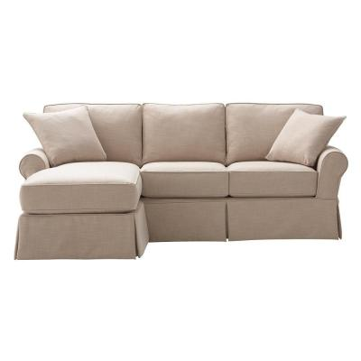 Mayfair Fabric 2-Piece Slipcovered Sofa with Chaise in Linen Pearl Product Photo