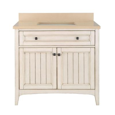 Home Decorators Collection Klein 37 in. Vanity in Antique White with Quartz Vanity Top in Beige with White Basin