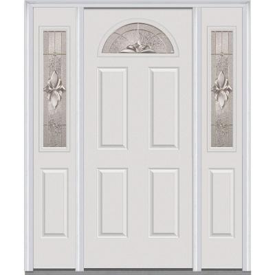64 in. x 80 in. Heirloom Master Decorative Glass 1/4 Lite Painted Majestic Steel Prehung Front Door with Sidelites Product Photo
