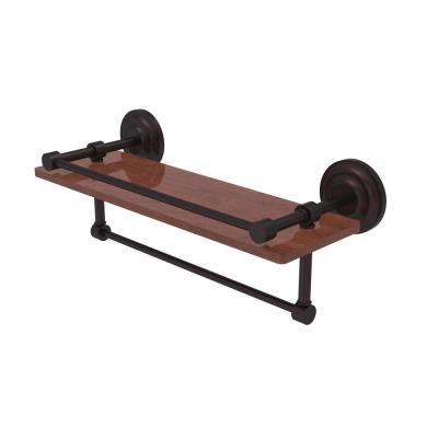 Allied Brass Que New Collection 16 in. IPE Ironwood Shelf with Gallery Rail and Towel Bar in Antique Bronze