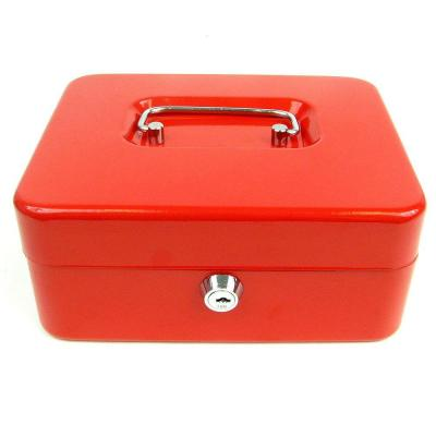 0.36 cu. ft. Key Lock Red Cash Box with Coin Tray,