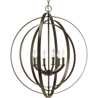 Equinox Collection 6-Light Antique Bronze Foyer Pendant Product Photo