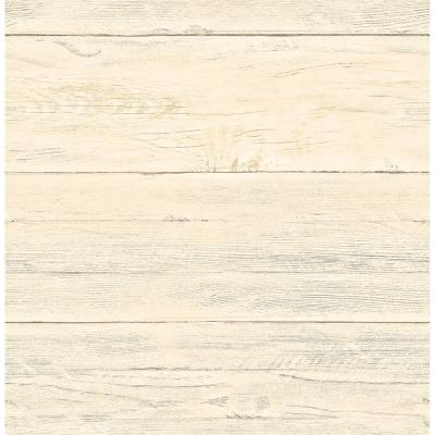 56 sq. ft. Honey White Washed Boards Shiplap Wallpaper