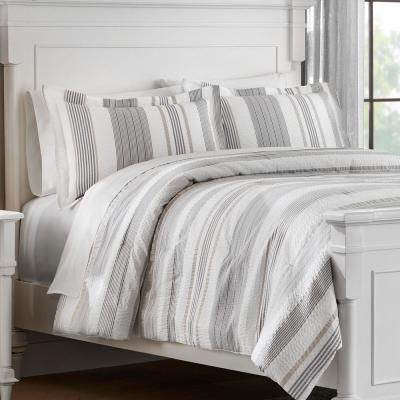 Arden 3-Piece White and Gray Textured Stripe Comforter Set